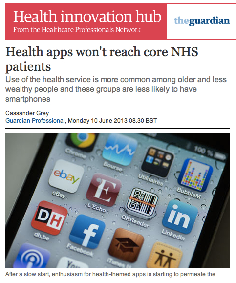 Health apps wont reach core NHS patients