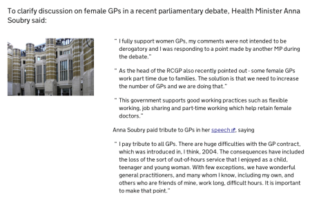 Health Minister Anna Soubry clarification article