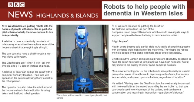 BBC News Robots to help people with dementia in Western Isles