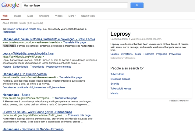 Google Results for Hanseniase