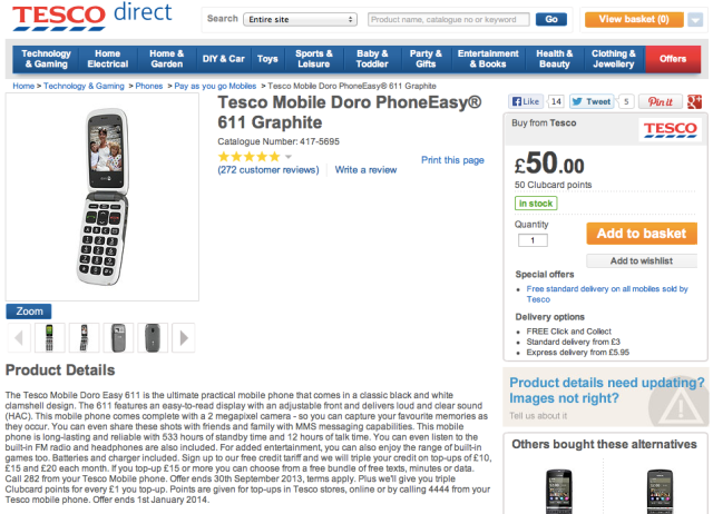 Tesco Selling Doro 3G CameraPhone