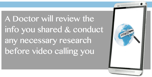 Your Doctor will conduct any neccessary research before Video Calling you