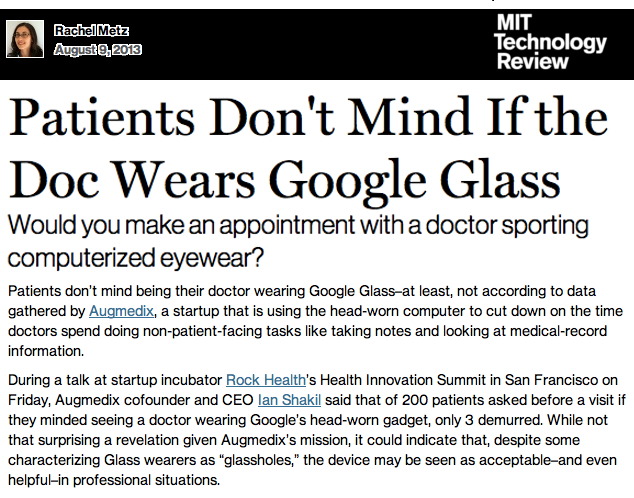 MIT Tech Review Patients dont mind if Doc wears Google Glass