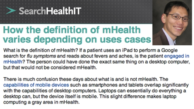 SearchHealthIT Dr Joseph Kim How the Definition of mHealth varies depending on uses cases