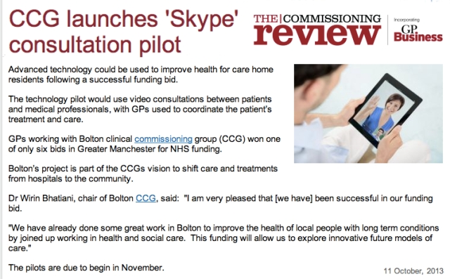 Bolton CCG launches Skype Consultation Pilot