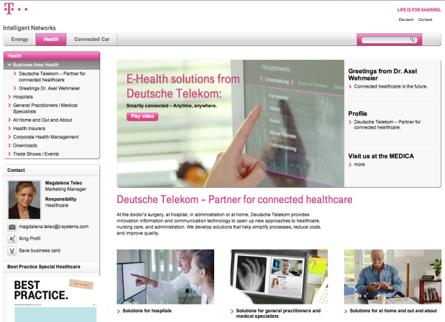 Deutsche Telekom Business Area Health Website