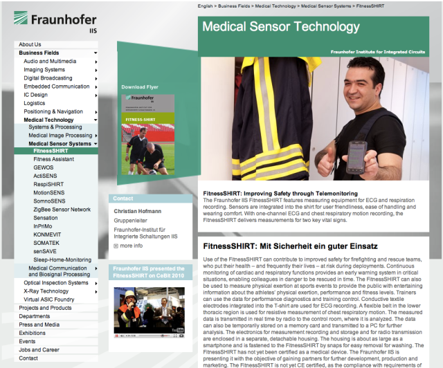 Fraunhofer Medical Sensor Tech FitnessSHIRT website