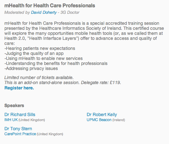 mHealth for Healthcare Professionals Workshops at Health 20 Europe