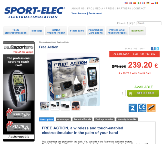 Sport Elec Wireless and Touch electrostimulator