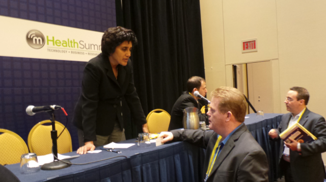 Delegates engaging with speakers #mHealth13