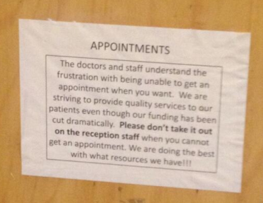 Please dont take it out on the reception staff when you cannot get an appointment
