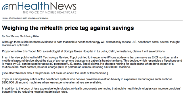 Weighing the mHealth price tag against savings
