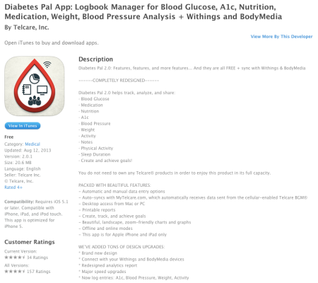Apple iTunes Telcare Diabetes Pal App Logbook Manager