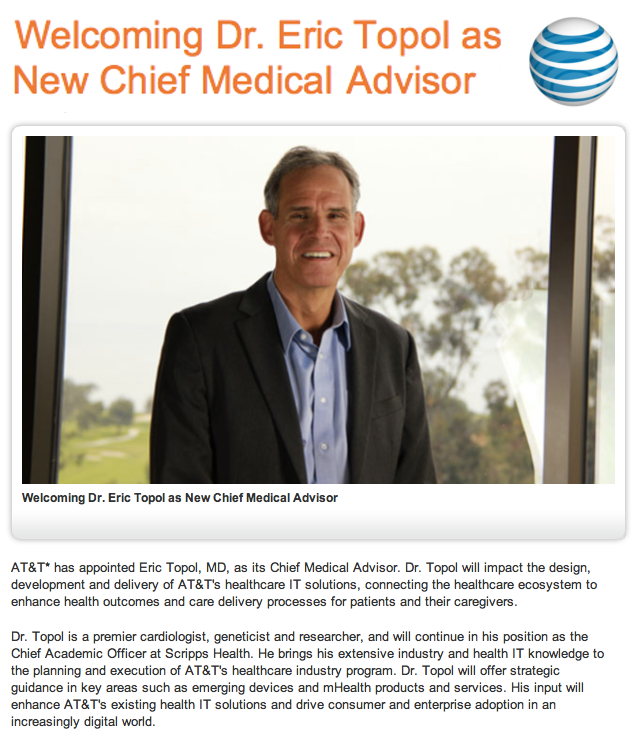 ATT Welcomes Eric Topol MD as new Chief Medical Advisor