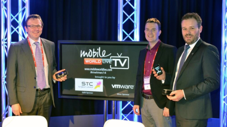 Collecting a prize with Alivecors Francis White  from Justin Springham at MobileWorldLive MWC14