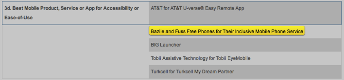 Global Mobile Awards shortlist Bazile and Fuss Free Phones MWC14