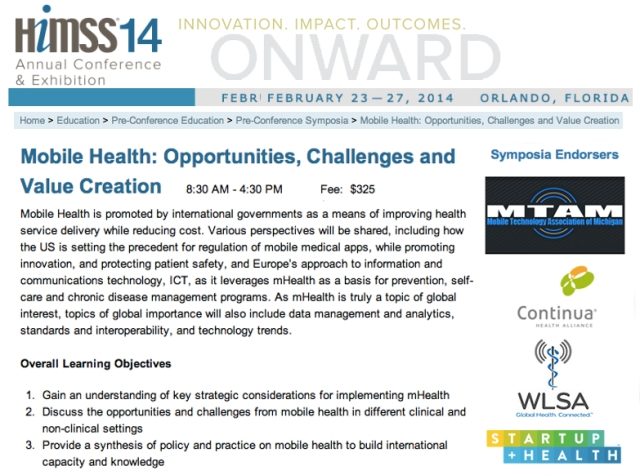HIMSS14 preconference mHealth Symposium