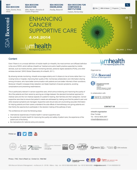 mHealth enhancing cancer support care