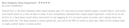 Patient AppStore feedback on Telcares Diabetes Pal App