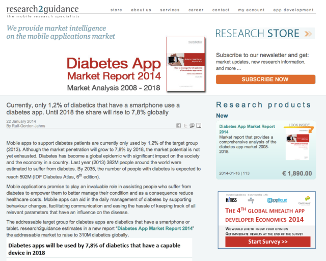Research2Guidance €1890 Diabetes App Market Report