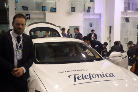 Telsa car on the  Telefonica Pavilion #MWC14