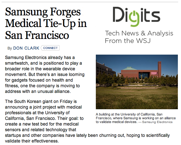 WSJ Samsung forges medical tie up in San Francisco