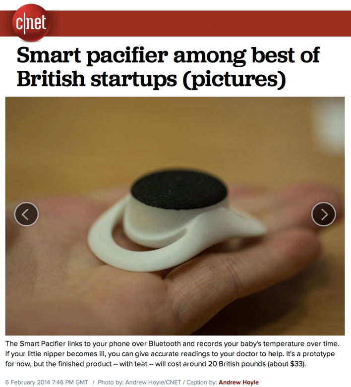 CNet Smart Pacifier among the best of British Startups
