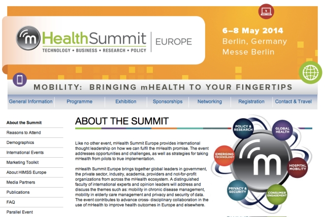 mHealth Summit Europe May 2014 Berlin Germany