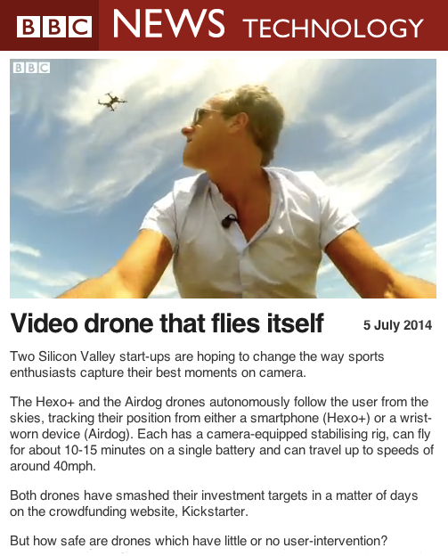BBC News Video Drone that flies itself