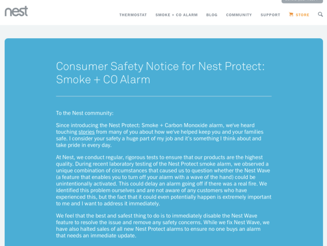 Nest Protect Safety Notice