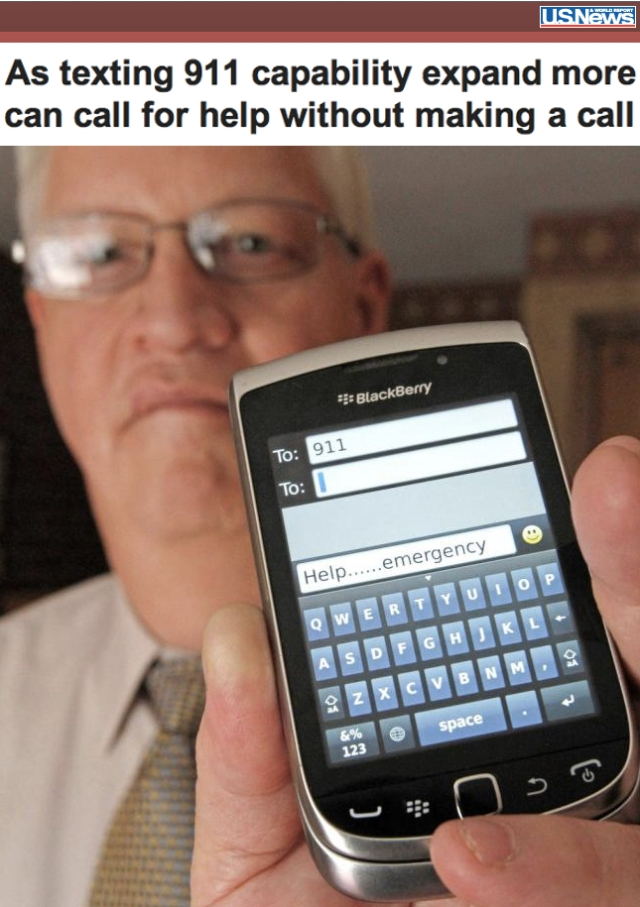 USNews As Texting 911 Capability expands more can call for help in an emergency without the need to make a call