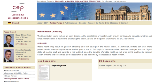 CEP comments on EUs mHealth Green Paper
