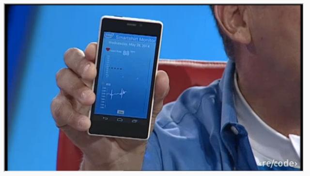 Intel CEO Brian Krzanich demos ECG monitoring smartshirt at Recode