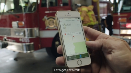 iPhone ad showcasing use by fire services mHealth