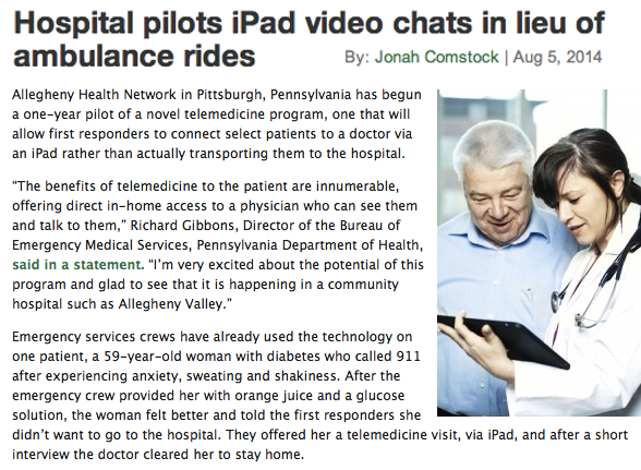 Mobihealthnews EMS in Pennsylvania don't accept video calls but will send you an ambulance with an iPad in it on which you can video call them