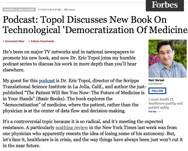 Eric Topol Podcast chat with Neil Versel