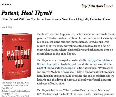 NYTimes Patient Heal Thyself The Doctor Will See You Now