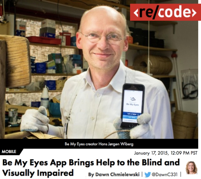 ReCode profiles Be My Eyes App to help the blind and visually impaired