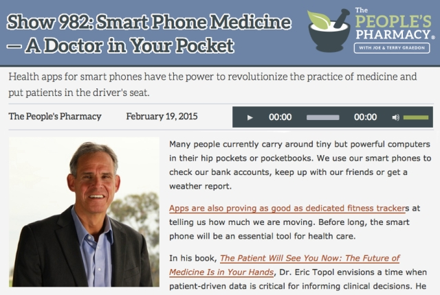 The Peoples Pharmacy interview Eric Topol Smartphone Medicine a Doctor in your Pocket
