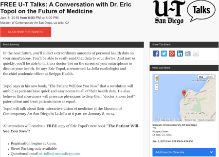 UT San Diego A conversation with Eric Topol on the Future of Medicine