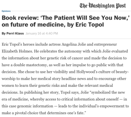 Washington Post review of The Patient Will See You Now