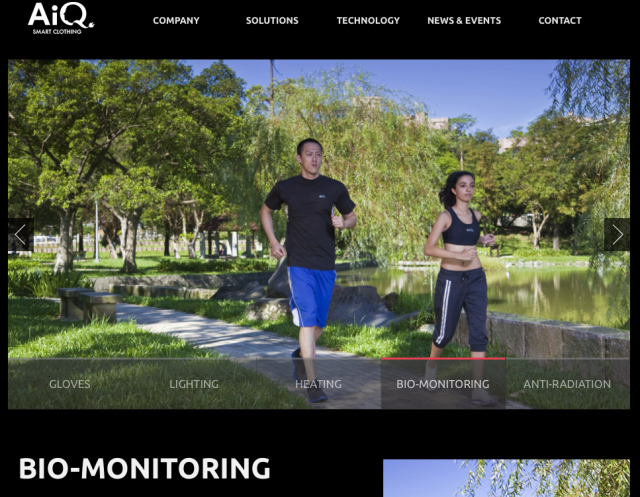 Aiq Smart Clothing Website BioMonitoring