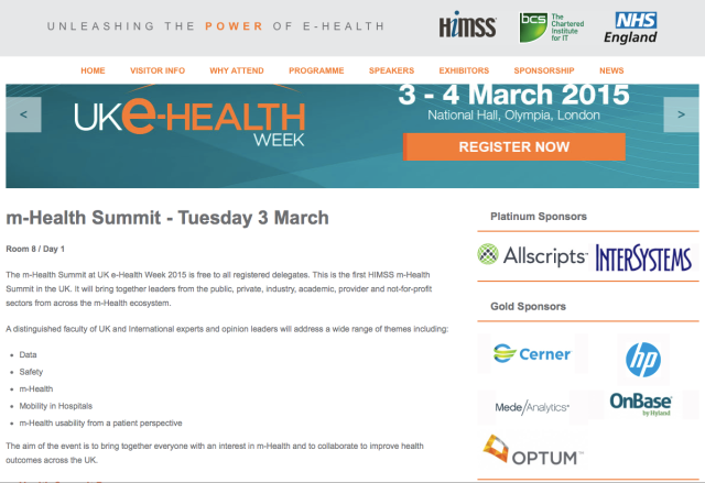 mHealth Summit at UK eHealth Week 2015