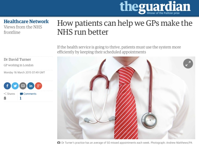 How Patients can help we GPs make the NHS run better