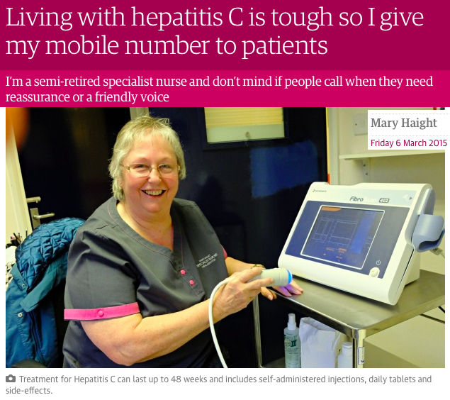 Mary Haight Living with Hepatitis C is tough so I give my mobile number to Patients