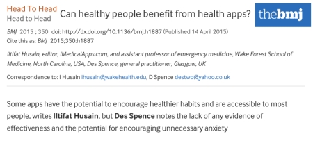 BMJ Debate Can healthy people benefit from health apps