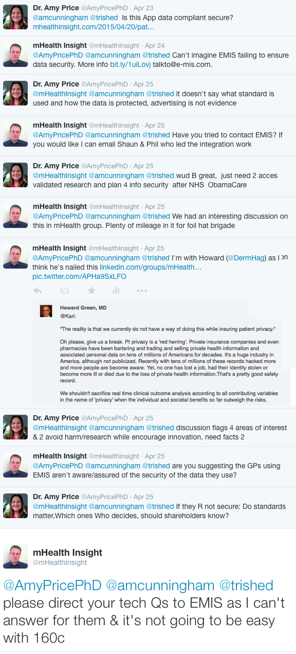 Twitter discussion triggered by EMIS HealthKit integration