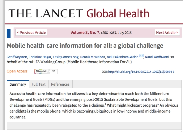 The Lancet Global Health mHealth info for all a global challenge