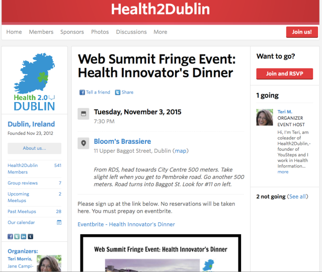 Health20Dublin WebSummit fringe event