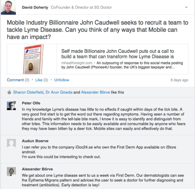 Linkedin mHealth Group discussion how mobile can impact on Lyme Disease